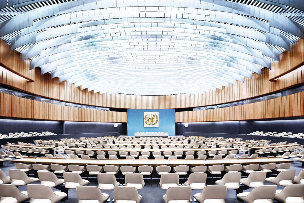 UN Room XIX I, Geneva, Switzerland, 2013. Main Stage : Room XIX of the European Headquarters of the United Nations, a building over 600 metres in length.