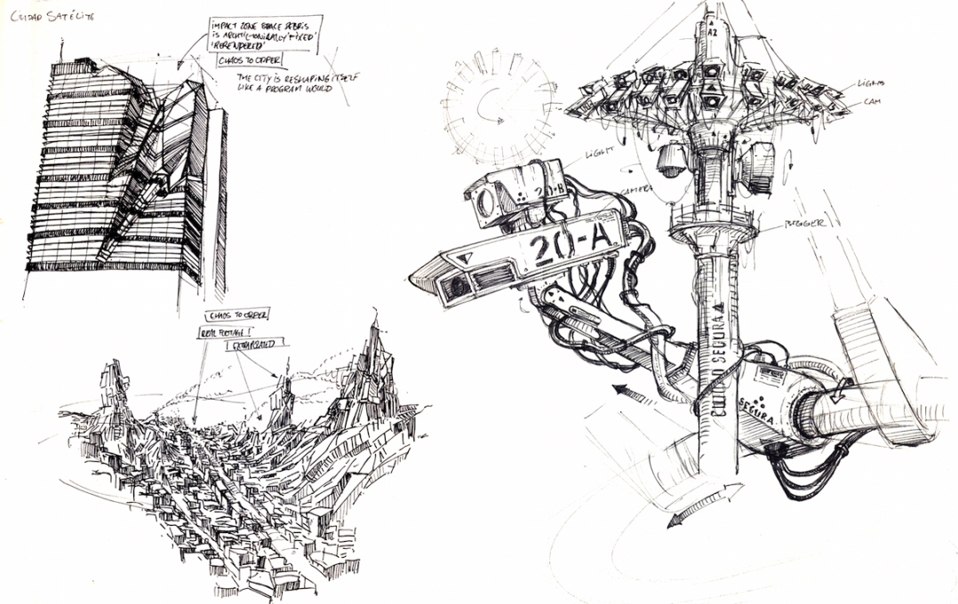 "This particular sketch depicts a city ""reshaping itself like a program would,""..."