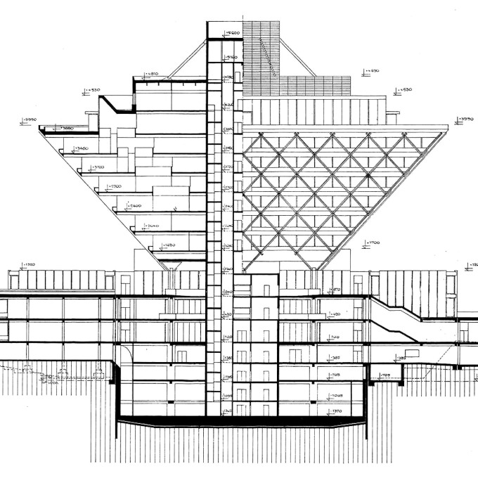 Original elevational and sectional drawing by architects Štefan Svetko, Štefan ?urkovi? and Barnabáš Kissling.