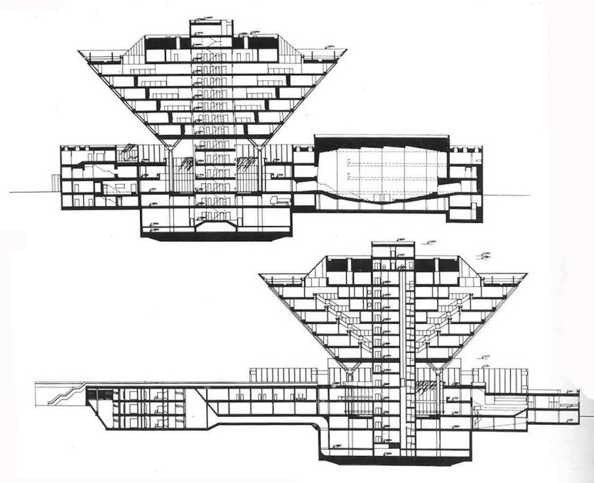 Sections through the inverted pyramid and its low-lying base by architects Štefan Svetko, Štefan ?urkovi? and Barnabáš Kissling.
