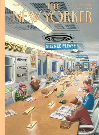 Reading in public captures the collective imagination. Bruce McCall's cover for an issue of The New Yorker depicted a library atmosphere common during NYC's morning subway rush, with a call to hush, prior to smartphone days.(Image via The New York