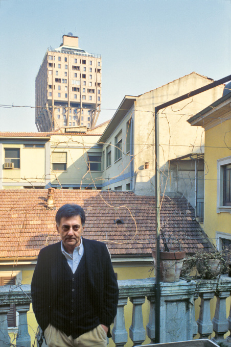 Aldo Rossi on the terrace of his apartment in Milan.