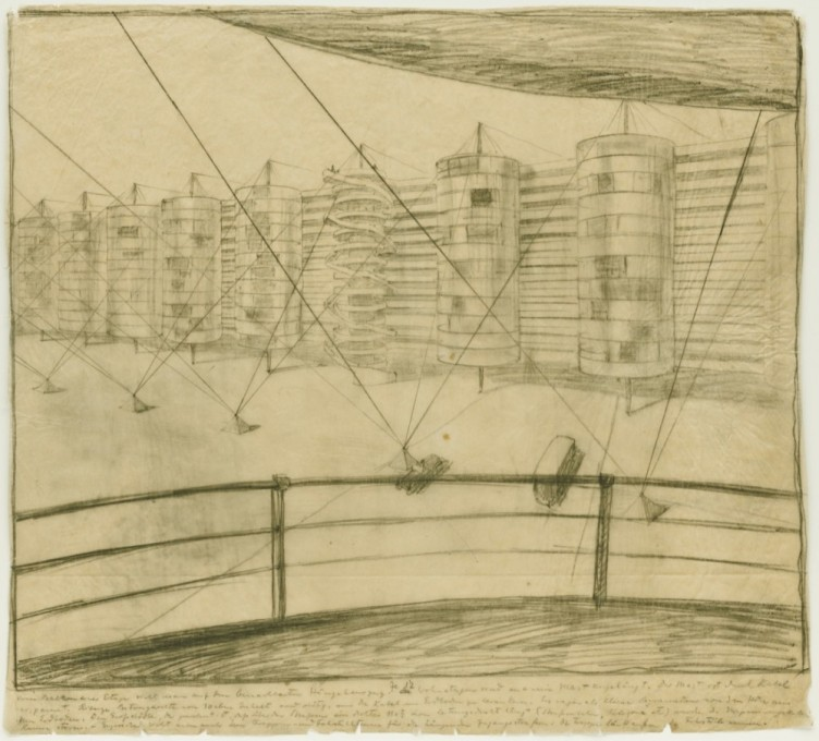 Brothers Rasch: Suspended Housing Units, perspective sketch, 1927/1928. Pencil on parchment paper. (Gift of Jo Carole and Ronald S. Lauder and the Architecture & Design Purchase Fund © Museum of Modern Art New York)
