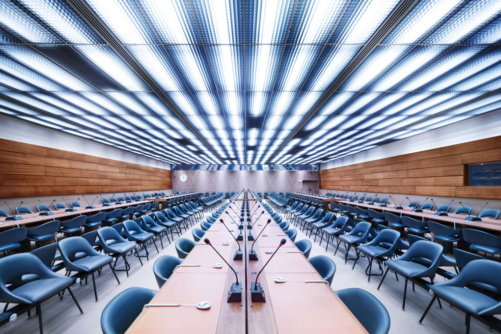 UN XXIV Room I, Geneva ( 2013) One of the nearly three dozen conference rooms the European Headquarters of the United Nations, its air conditioning running on cooled water from the nearby Lake Geneva.