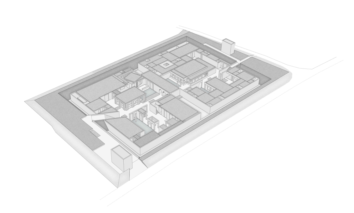 Isometric view of the site of the Friendship Centre. The diagonally-shifted roof, contrastingly off-grid from the rest of the complex, belongs to the Prayer Space, orientated to Mecca. (Image: URBANA)