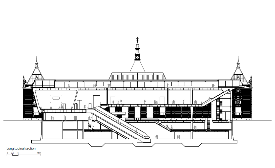 The longitudinal section shows the arrangement of rooms in the new extension, with offices on the top floor, exhibition hall and auditorium on the first floor, foyer on the ground floor and another exhibition hall in the basement.