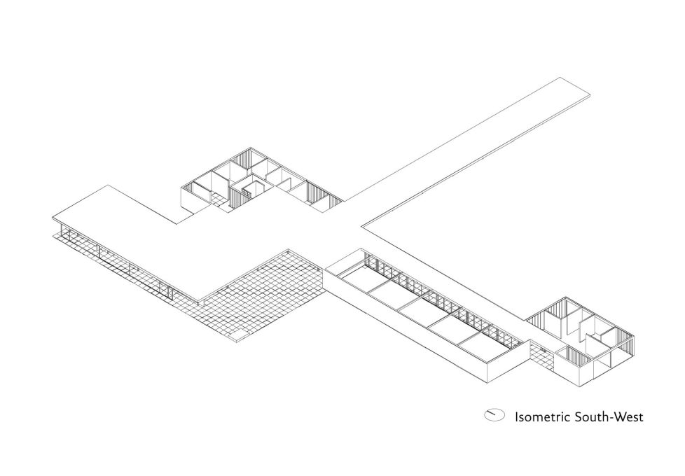 The isometric view displays the material and spatial clarity of the design (Image: Robbrecht en Daem Architecten)