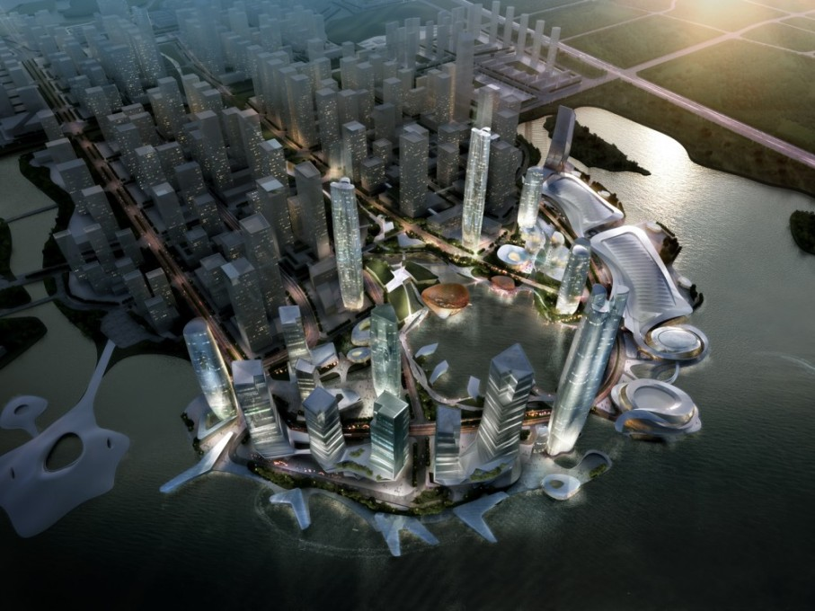 """To reflect the aspiration of transparency and dialogue the buildings are formed by converging elements that combine with the landscape."" Huh? (Image/text: China-Taiwan Master Plan for CBD by 10 Design via ArchDaily)"