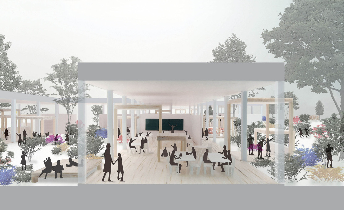 Kumiko Inui: Rendering of Shichigahama Elementary School + Junior High School, Shichigahama, Miyagi, Japan, 2012. (Photo: © Kumiko Inui)