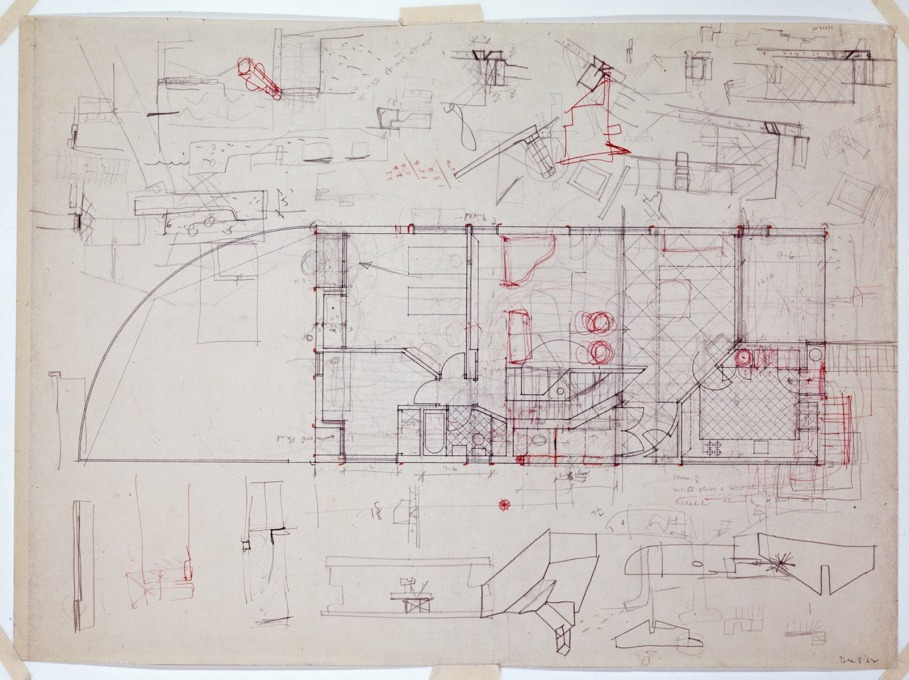 Robert Venturi's sketch of the Vanna Venturi House's ground floor.