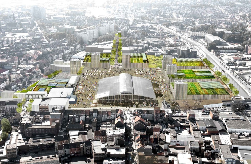 Abbatoir Masterplan rendering showing the new food hall and urban farm. (Image: © Organisation for Permanent Modernity)