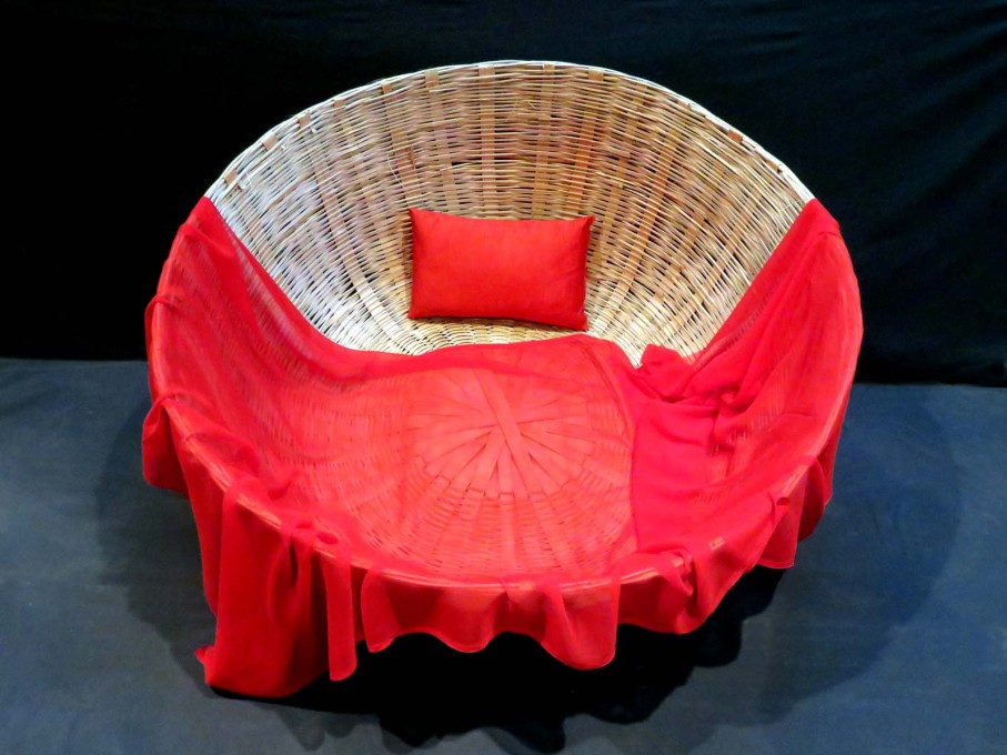 Transactional Objects, Object 8: Basket Bed, Rupali Gupte and Prasad Shetty, 2015, Cane, Cloth, 60cm deep, 114cm in diameter.