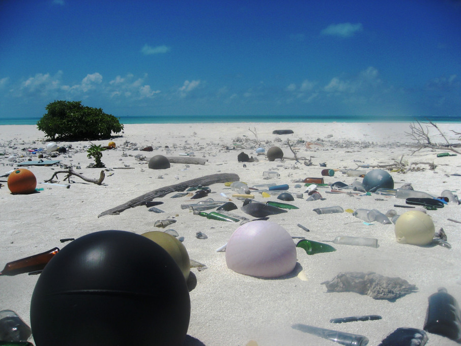 Out to Sea? Plastic trash on the beach at Papahanaumokuakea Marine National Monument, 2006, Photo: © Paulo Maurin/NOAA