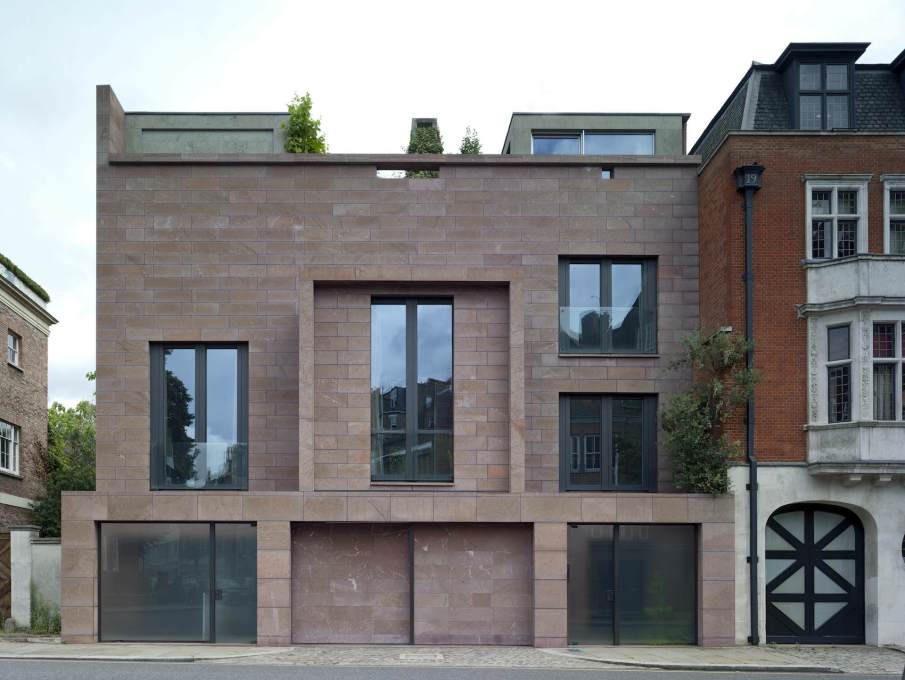 "Red House, Chelsea, 2001, showing the Loosian red marble façade to Tite Street. ""The Red House makes a contribution to the street..."" (Photo: Peter Cook)"