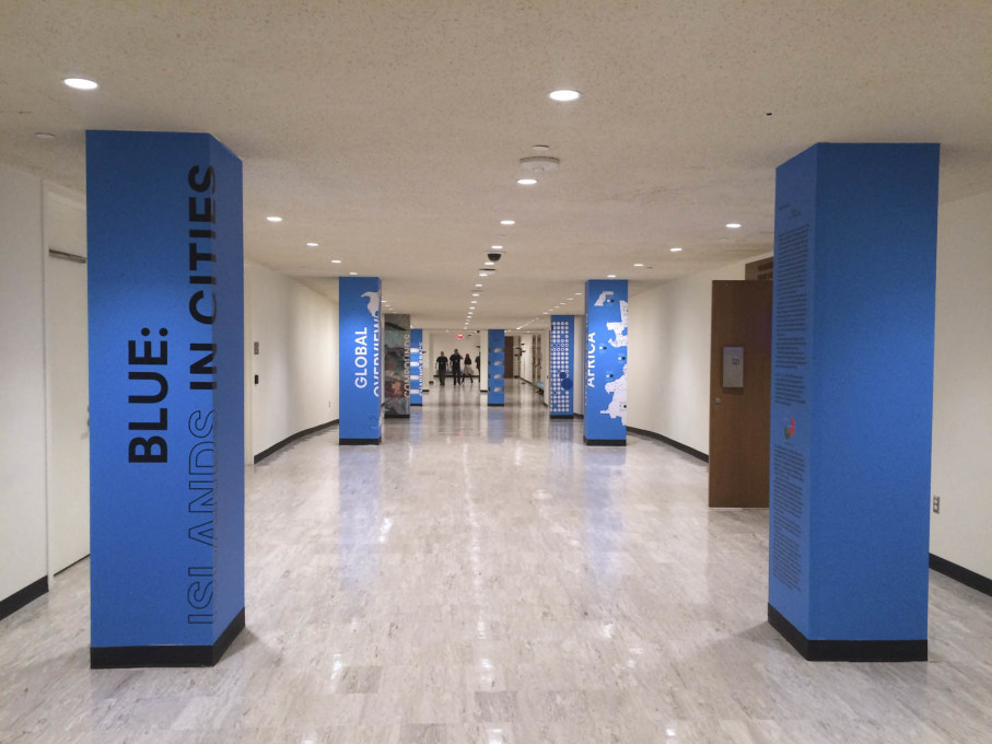 "Exhibition view of ""Blue: Islands in Cities"", a precursor to Malkit Shoshan's Venice Pavilion, displayed at the UN headquarters in New York in January 2016. (Photo: Malkit Shoshan)"