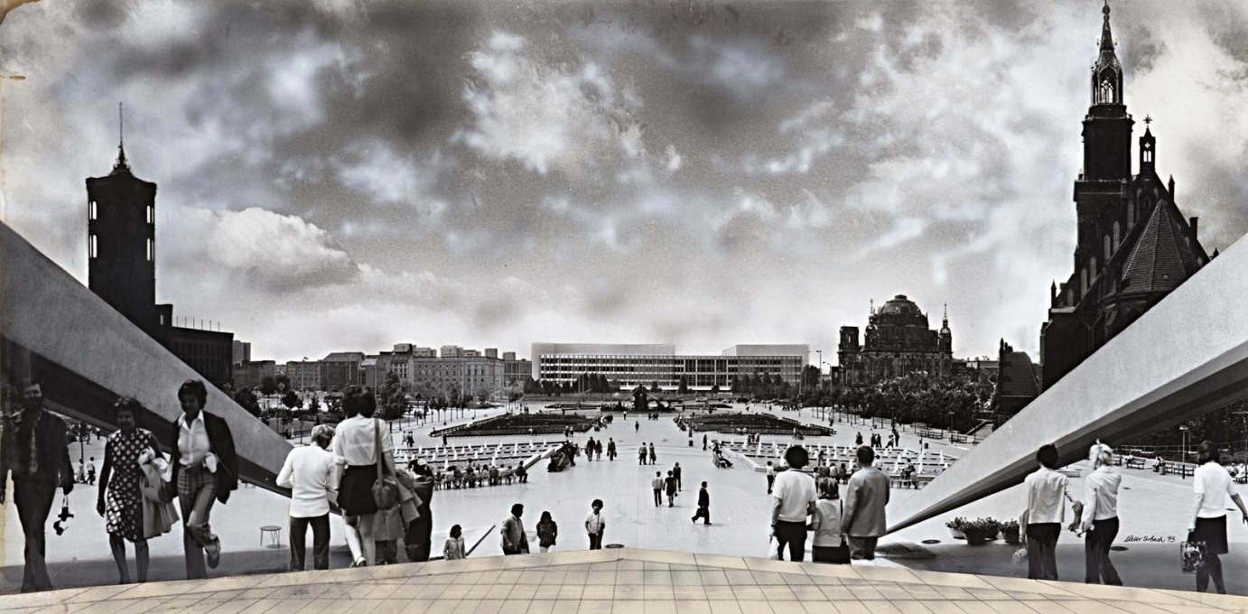 Urbach's collaged view towards the Palace of the Republic from the bottom of the TV tower, 1973.