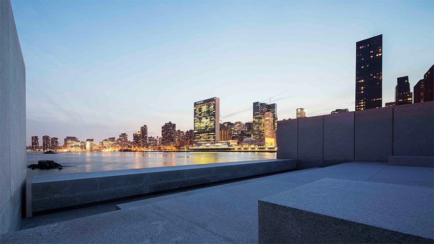 "The centerpiece of the project, a space figured in granite, has become known as ""The Room,"" and it extends into the East River in New York."