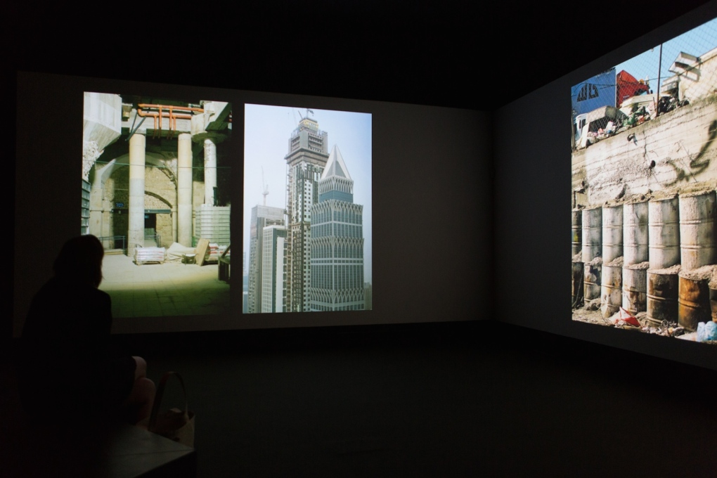 "Installation view, ""Book for Architects"", 2014, two channel 4K still video installation, part of ""Elements of Architecture"" in the Central Pavilion."