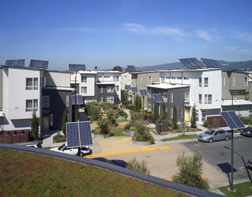 Through solar panels and other initiatives, the Tassafaronga development has achieved LEED Certified Gold status. (Photo: Brian Rose)