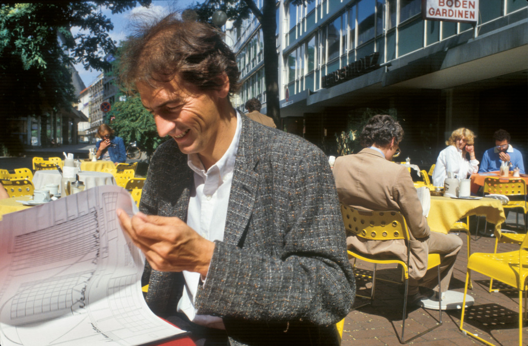 "Rem Koolhaas in Frankfurt, 1980: ""He's always flying around, always in a hurry, and when he describes his plans or his buildings, he just gestures with his hands a bit, never really trying to make a point or get into the details."""
