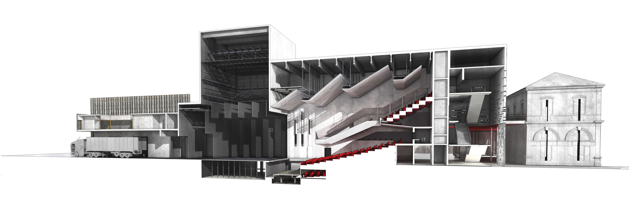 Longitudinal sectional perspective, cut north-south through theater auditorium. (Image: K-architectures)