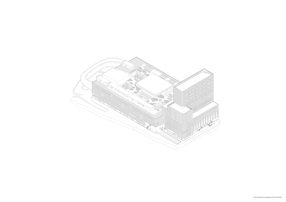 Axonometric drawing of the building. (Image courtesy EM2N)