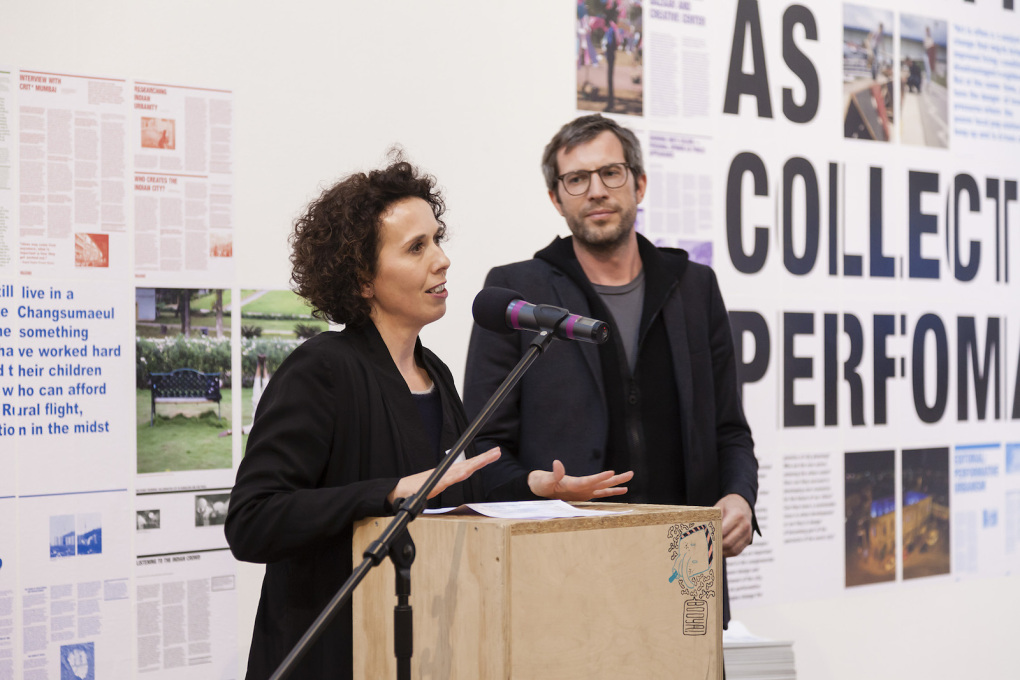 Curators Matthias Böttger and Angelika Fitz (Tim Rieniets not pictured) introduce the Weltstadt project to the public at the exhibition opening. (Photo: Schnepp Renou)