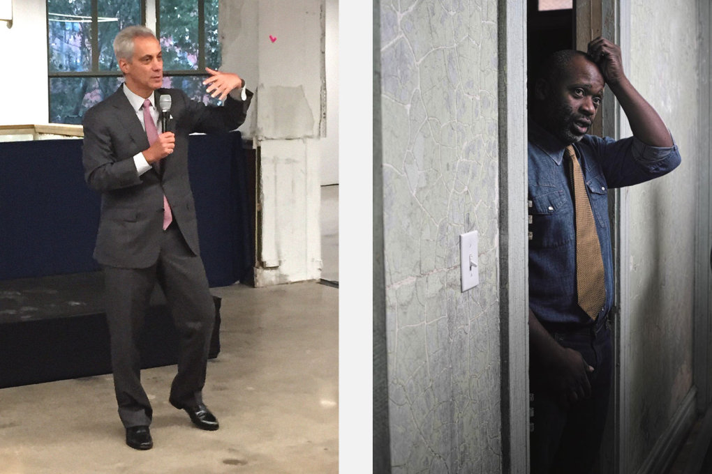 Two key players in the cultural scene of Chicago: Rahm Emanuel, Mayor of Chicago (left, photo: Rob Wilson) and artist Theaster Gates. (right, photo: Julia Albani)