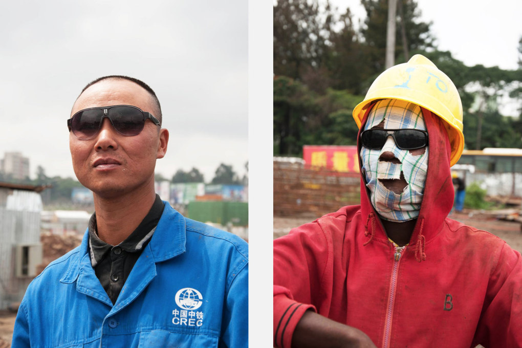 Left: The exhibition's main motif is of a Chinese site manager on a construction site for a new light rail line system in Addis Ababa, built by Chinese company CREC. Right: A welder on the same site. (Photo: Michiel Hulshof & Daan Roggeveen)&