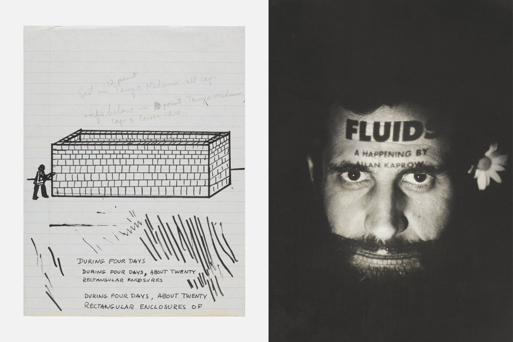 "Allan Kaprow: ""Notes for Fluids"" (left), and portrait of the artist (right), both from Getty Research Institute (L.A.), 1967. (Courtesy Allan Kaprow Estate and Hauser & Wirth, Photo©Julian Wasser)"