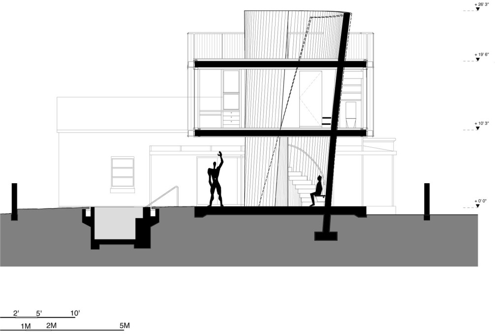 Section through the house, with a nod to Le Corbusier's Modular Man. (Image courtesy Christian Wassmann)