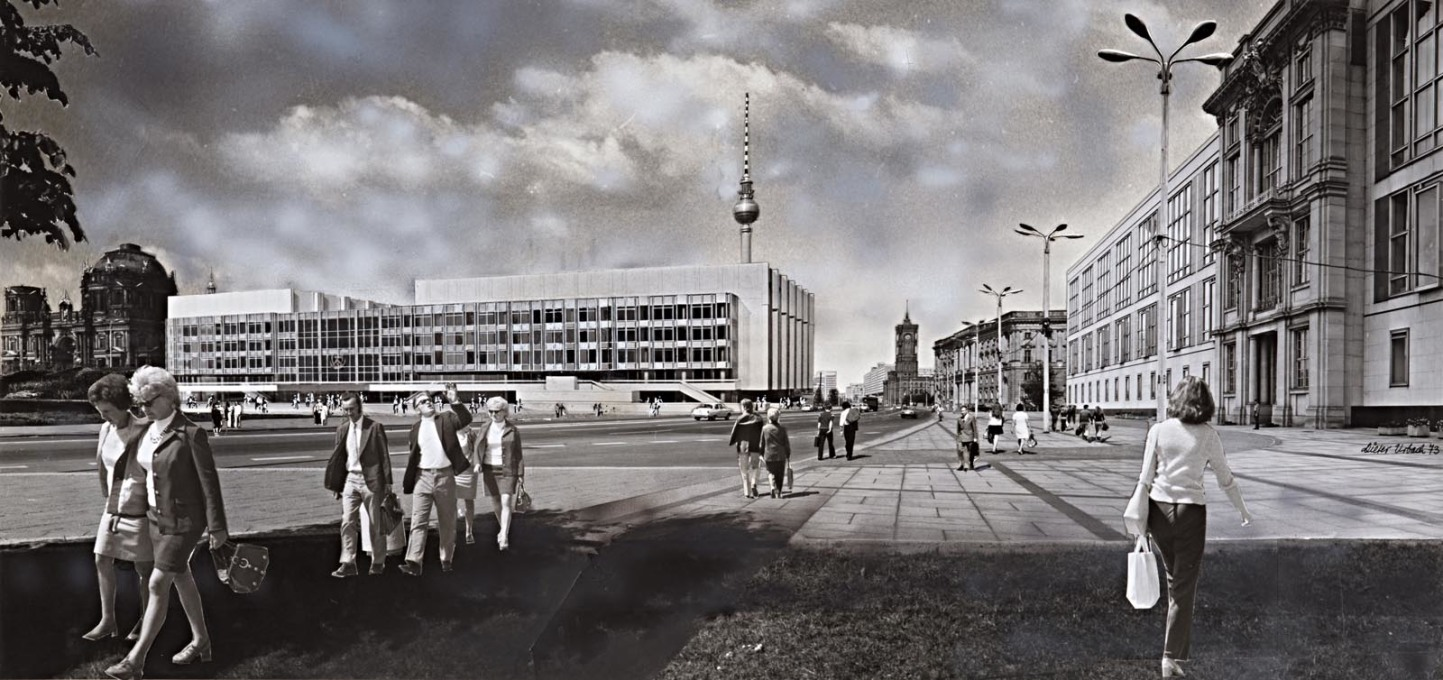 "Visualisation of ""a multi-purpose building"", later known as Palace of the Republic. The design was supposedly by Josef Kaiser, Urbach's collage dates from 1973."