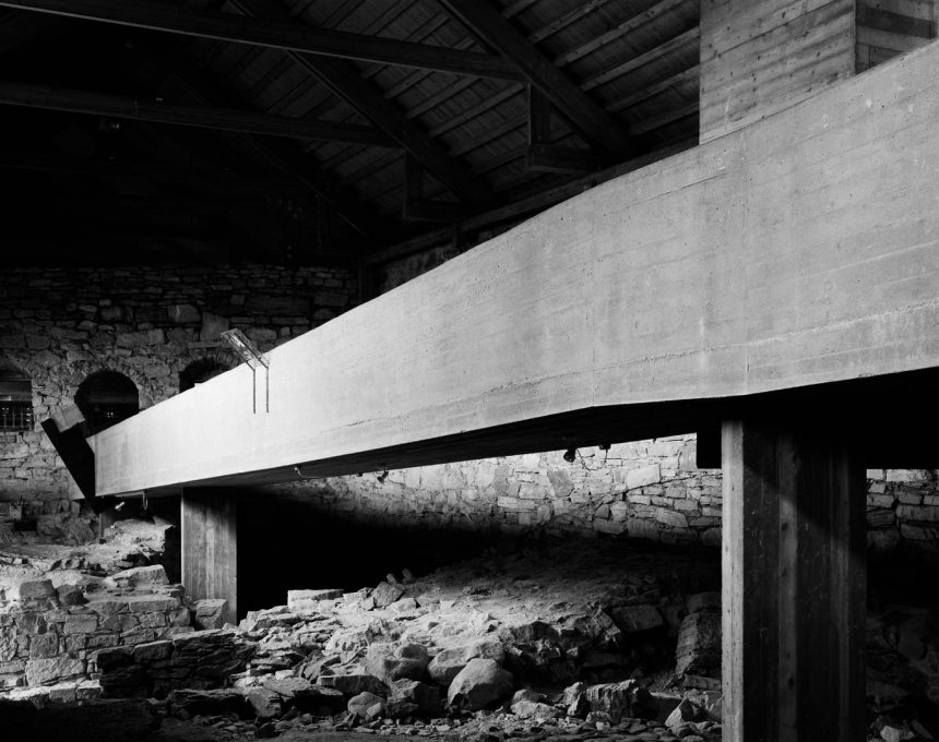 The Hedmark Museum, Hamar, Norway (1967-2005) where Sverre Fehn's concrete and wooden structures complement and contrast with the medieval ruins, a nuanced integration of old and new. (Photo: Hélène Binet)