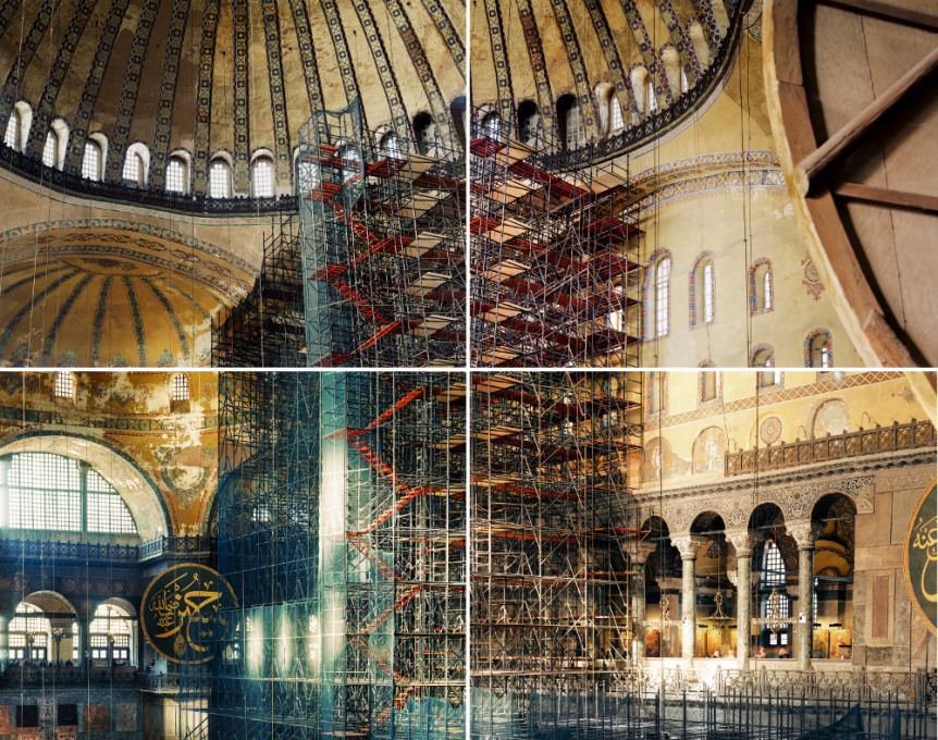 """The scaffolding was a great tool to work with: a contemporary element in a 1500 year old interior. Seeing it I was overwhelmed"". Ola Kolehmainen, ""Hagia Sophia, year 537 V"", 2014 (© Ola Kolehmainen, Courtesy: Gallery TaiK)"