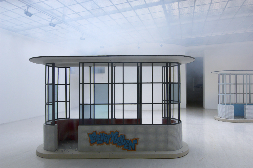 Perhaps if you wait long enough, a bus will come along? Ina Weber's work Bus Shelter (glue) (2011). (Photo: Lisa Rastl, Courtesy of Galerie Georg Kargl)