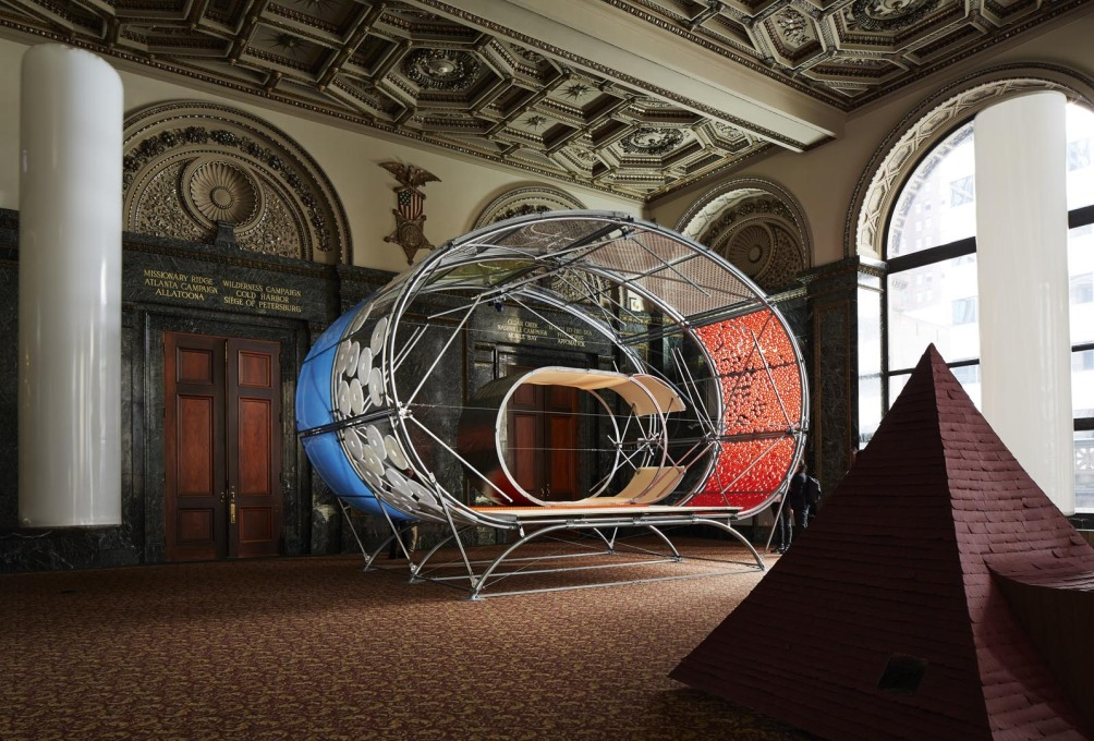 """Casa A"" by Selgascano + HelloEverything and a pyramid element of Onishimaki + Hyakudayuki's ""Children's Town"". (Photo: Steve Hall, courtesy Chicago Architecture Biennial)"