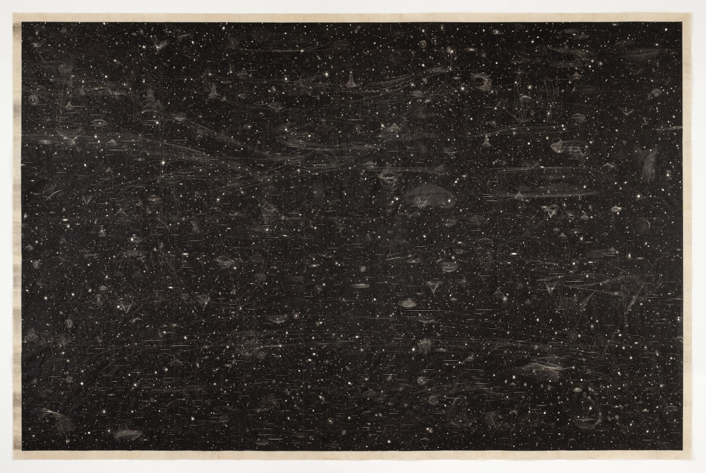 "Marsha Cottrell, ""A Black Powder Rains Down Gently On My Sleepless Night,"" iron oxide on mulberry paper, 2012. (Photo courtesy SFMOMA, © Marsha Cottrell)"
