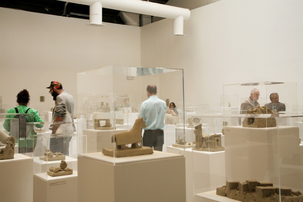 The installation of around 180 clay models by Peter Fischli and David Weiss, [Suddenly This Overview], 1981, in the Central Pavilion. (Photo: Francesco Galli, Courtesy la Biennale di Venezia)