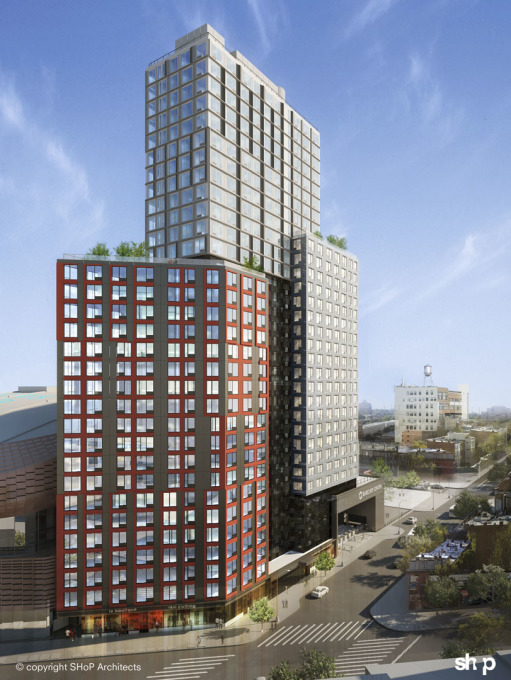 New residential developments include 461 Dean Street by SHoP Architects, the tallest modular building in the world... (Image courtesy Pacific Park)
