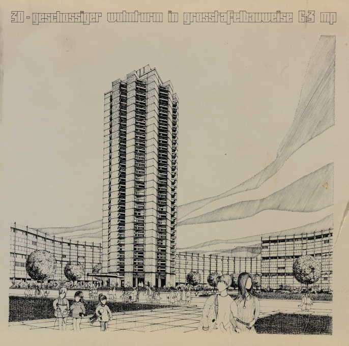 Brave new prefab world: Manfred Zumpe's 1971 design study of prefab highrises in East Berlin. (Image © Berlinische Galerie)