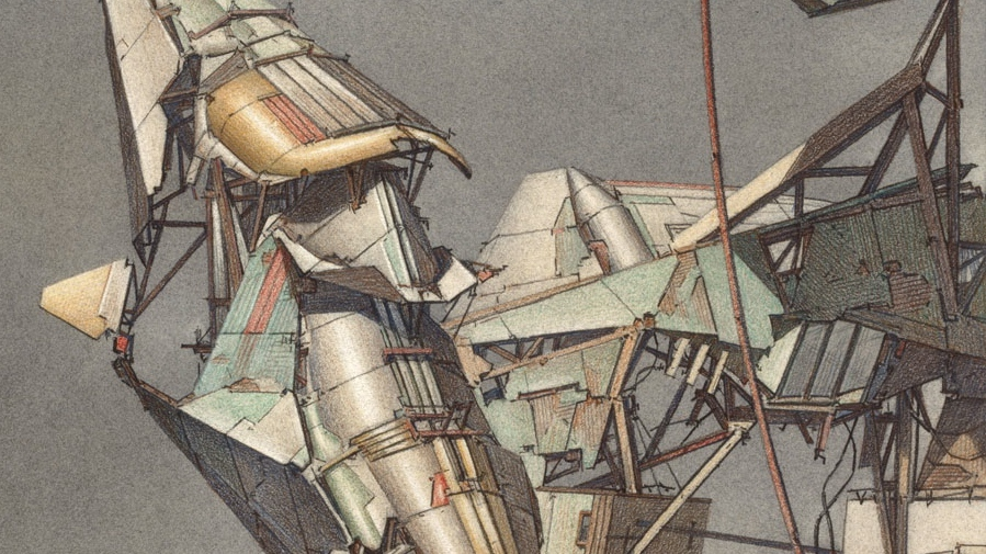 "Detail from Lebbeus Woods, ""Geomagnetic Flying Machines"", 1989, watercolour over a pencil drawing: ""cyborg-like constructions"". (All images © Estate of Lebbeus Woods)"