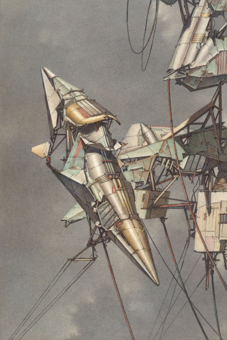 "Lebbeus Woods, ""Geomagnetic Flying Machines"", 1989, watercolour over a pencil drawing."