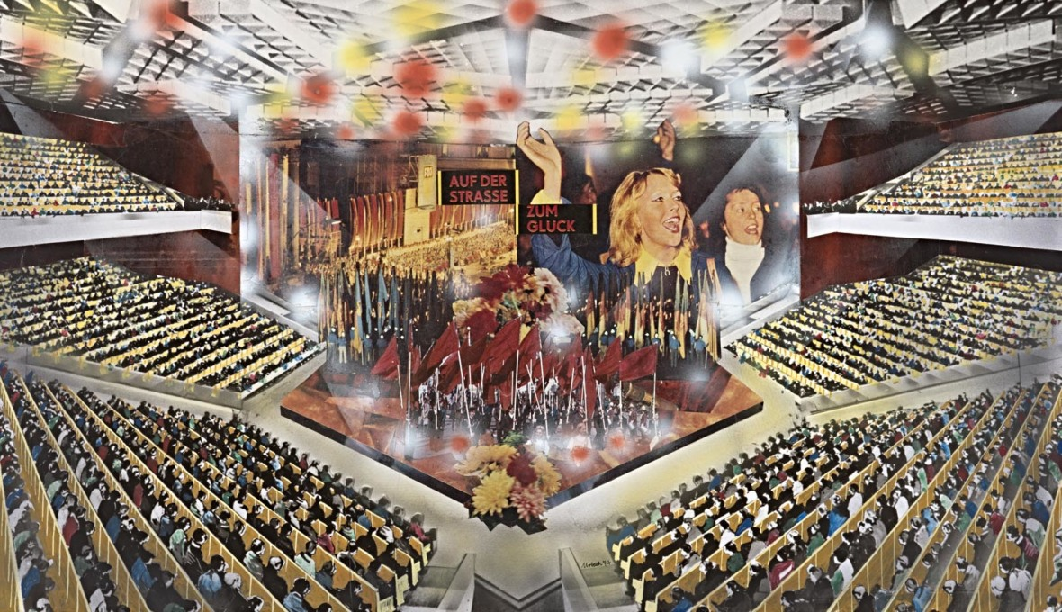 "Urbach's collages of the ""Big Hall"" in the Palace of the Republic demonstrated the proposed multifunctional nature of the building, that would not only serve as the seat of the GDR parliament..."