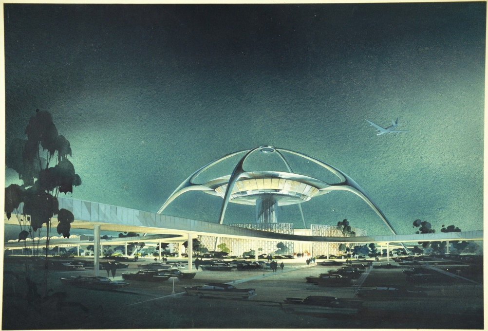 "From the Getty Center's exhibition ""Overdrive L.A. Constructs the Future, 1940-1990"": LAX, Theme Building; perspective view, 1961 (C. Luckman, W. Pereira, W. Becket and P. Willams. (Image © The Luckman Partnership)&a"