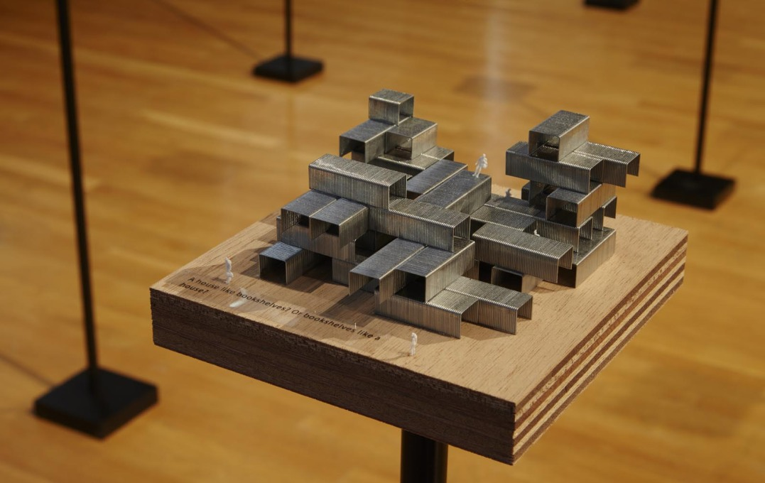 "A staple structure model, part of Sou Fujimoto's ""Architecture Is Everywhere"" installation. (Photo: Tom Harris, courtesy Chicago Architecture Biennial)"