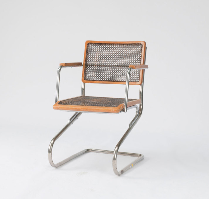 Brothers Rasch: 3138 armchair, 1931. Chrome-plated tubular steel, beechwood, canework, stained dark brown. Made by L&C Arnold, Stendal. Originally designed by Heinz Rasch, this version was revised by Gustav Hassenpflug in 1934/35.
