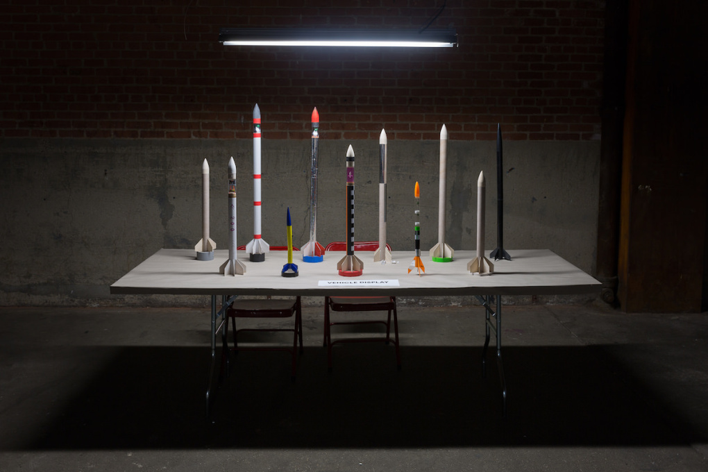 "A new collaboration with Chris Woebken called ""The Society for Speculative Rocketry"" (2014) resulted in a weekend-long workshop at Eyebeam in New York. These rockets were built by participants."