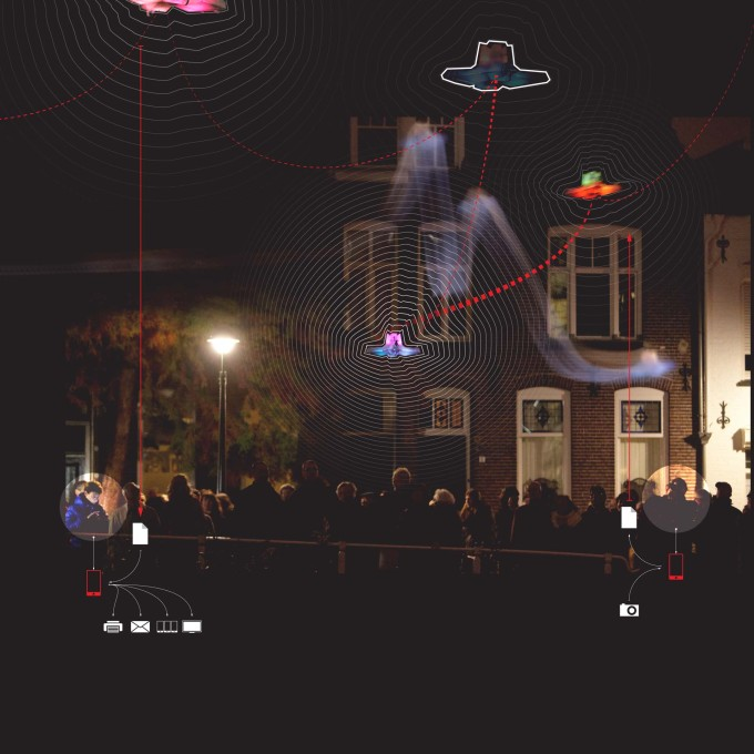A project in which a flock of GPS enabled quadcopter drones, built to drift autonomously through the city for the Glow Festival in Eindhoven... (Photo: Claus Langer)