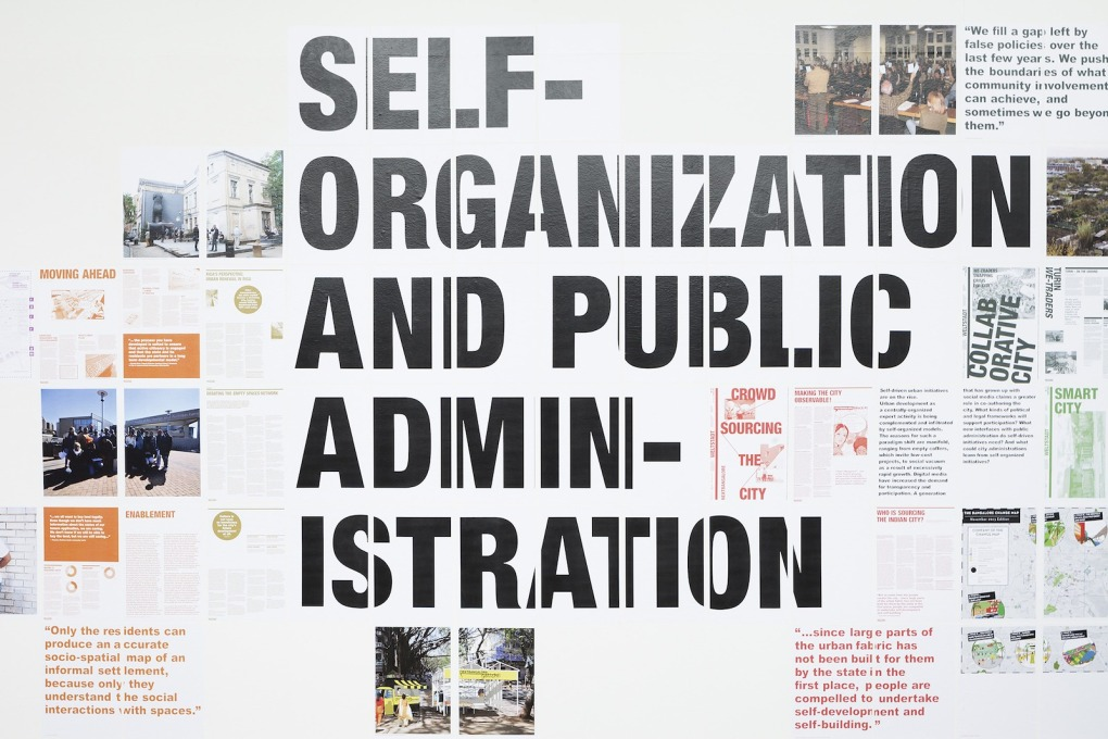 Like the conference, the exhibition was divided into thematic sections exploring the topics such as informal/formal construction, the city as a collective performance, and self-organisation and public administration. (Photo: Schnepp Renou)
