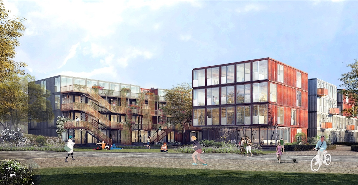 ...whilst this rendering show the site as it will eventually look once all containers, including prefabricated ones, are on site. (Image courtesy Holzer Kobler Architekturen)